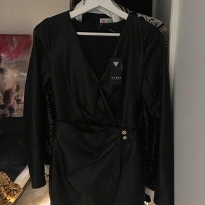 LEXIE FAUX-LEATHER DRESS